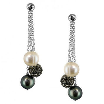 """Honora """"Pop Star"""" Sterling Silver 8-9mm Black, White and Gray Round Ringed Freshwater Cultured Pearl and 8mm Pave Crystal Bead Dangle Drop Earrings"""