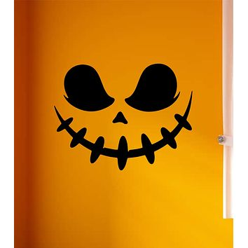 Pumpkin Face V3 Wall Decal Home Decor Vinyl Art Sticker Holiday October Halloween Trick or Treat Witch Ghost Scary Skull Kids Boy Girl Family