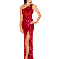 One Shoulder Sequined Prom Dress Mac Duggal 3389L