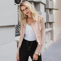 Stand Collar Patchwork Women Coat Lace Up Back Long Sleeve With Zipper Slim Cool Streetwear Jackets