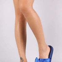 Satin Oversized Bow Slide Sandal