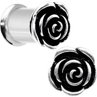 0 Gauge Stainless Steel Double Flare Windsor Rose Plug Set