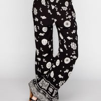 Patrons Of Peace Border Print Womens Beach Pants Black  In Sizes