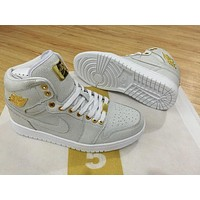 Air Jordan 1 Pinnacle 24K 1985 White/Gold Men Sport Sneaker-1
