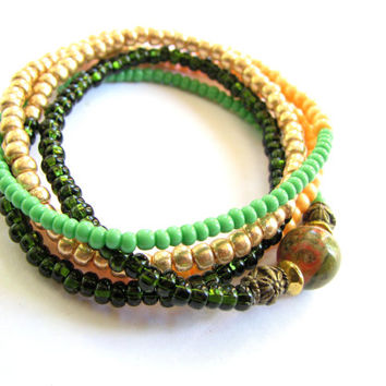 Beaded Long Wrap Bracelet  - Womens Stretch Bracelet in Forest Green, Lime, Orange and Gold with Unikite Jasper