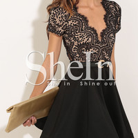 Black Short Sleeve With Lace Flare Dress -SheIn(Sheinside)