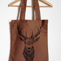 Deer bust canvas tote bag. screen printed on cotton.dark brown.GIFT idea for her or for him. Handmade illustration,for animal/nature lovers!