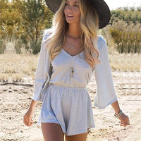 V-neck Elastic Waist Backless Jumpsuit