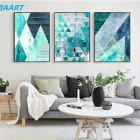 Modern Minimalistic Geometric Blue Modular Pictures Print Poster Decor Canvas Painting Wall Picture Art Home Decor