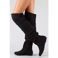 New Nature Breeze Vickie Hi Suede Knee high Boots BLACK