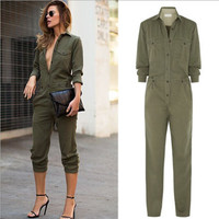 New Hot Women's Ladies Army Green Long Sleeves Turn-down Collar Buttons Closure Slim Playsuit Romper Jumpsuits S/M/L/XL