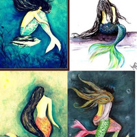 Mermaid 4x6 crads   Set of four Mermaid Siren painting Blank cards   Beach sea Blue hand painted greeting card   Valentines card for girl