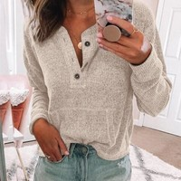 Apricot Pockets Long Sleeve Casual Sweet Going out Pullover Sweater