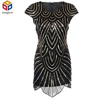 Elegant black 1920s flapper great gatsby dress vintage glitter beading and gold sequin party embroidery women dress