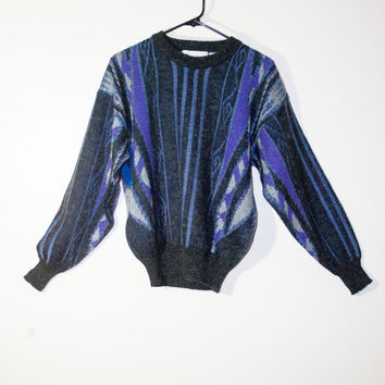 purple blue cosby ugly vintage sweater, urban outfitters, spring 2014 retro fashion 1990s 1980s 90s 80s indigo tribal pattern