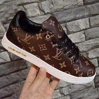 Alwayn LV Shoes Louis Vuitton Monogram Flat Sneakers Women Men Shoes Coffee