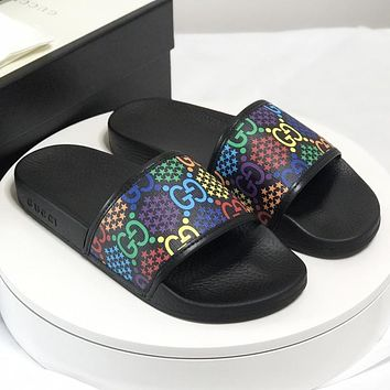 GG New fashion more letter star print shoes slippers flip flop women