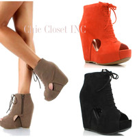 NEW-Women-Peep-Toe-WEDGES-Booties-Platform-High-Heel-Ankle-Lace-Up-Boots-Shoes