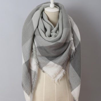 Piper Plaid Scarf in Shades of Grey