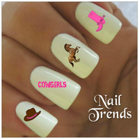 Cowgirl Nail Decal. 20 Vinyl Stickers Nail Art