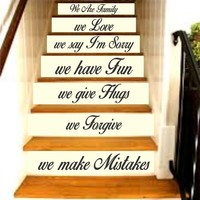 Family Rules -In This House Quote Version 2 Staircase Wall Vinyl Decal Sticker Decalsl Room Decor Words Tattoo