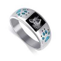 Gem Avenue Men's 925 Sterling Silver Turquoise Inlay Wolf Southwestern Style Ring