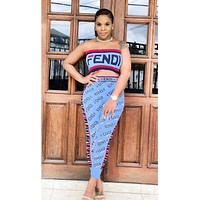 Fendi Fashion New Summer More Letter Print Leisure Strapless Top And Pants Two Piece Suit Blue