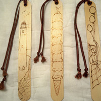 Bookmarks - Set of 3 - Wood Burned - Lighthouse, Girl With Balloons, Ice Cream Cone