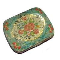 ANTIQUE Tiny Floral TIN Pill BOX Edwardian Stamp Box Victorian Flowers Vintage Seafoam Green Jewelry Travel Shabby Roses Vanity Case Pillbox