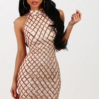 Kiss Me Once Rose Gold Sequin Mini Dress