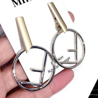 FENDI Creative Circle  F Letter Pearl Pendant Exaggerated Earrings Accessories Jewelry