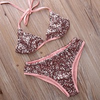 Fashion Edgy Strapless Sequin Bikini Set Swimsuit Swimwear