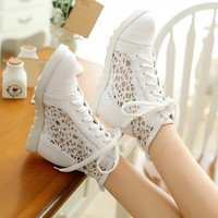 New Spring Summer Women Fashion Sneakers Cut-outs Wedges Heels Lace up shoes sapatos femininos Platform Plus Size 32-42 Alternative Measures