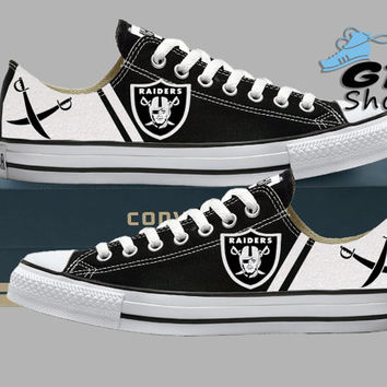 Hand Painted Converse Low Sneakers. Oakland Raiders. Raider nation. Football. Superbowl. Silver paint. Handpainted shoes.