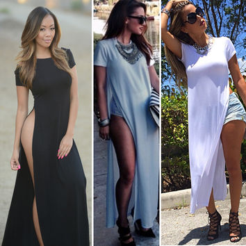 Solid Color Double High Slit Maxi Dress