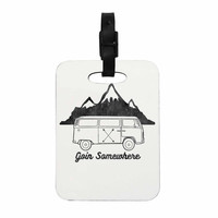 """Draper """"Going Somewhere A"""" White Typography Decorative Luggage Tag"""