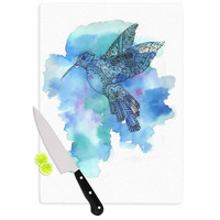 "Sonal Nathwani ""Hummingbird"" Blue Watercolor Cutting Board"