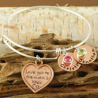Love you to the Moon and Back Copper and Silver Bangle Bracelet - Charm Bracelet - Alex and Ani Inspired