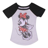 Disney Mickey And Minnie Mouse Raglan Style Junior Graphic T-shirt, Black