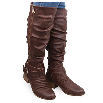 SANTAS LITTLE HELPER SPECIAL! Adorable Buckle Detail Tall Brown Riding Boots