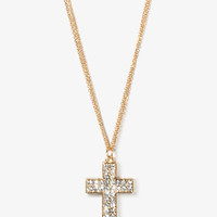 Rhinestoned Cross Necklace | FOREVER 21 - 1030186857