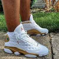 "Air Jordan 13 Retro ""DMP"" White/Gold Sneakers Shoes"