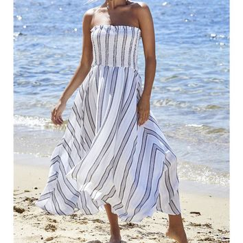 Fashionable women's dresses with pleats and breast stripes and open-forked dresses