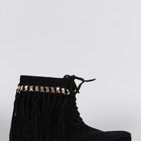 Bamboo Suede Link Chain Fringe Lace Up Moccasin Flat Booties