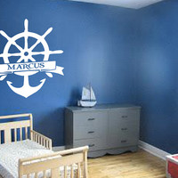 Personalized Boat Anchor and Wheel Wall Decal - Custom Name - Home Decor - Kids Room - Nursery - Gift Idea - Living Room - Office - Cottage
