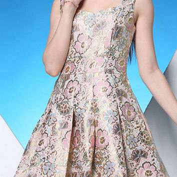 Glossy Pale Pink Jacquard Fit & Flare Dress