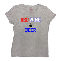 America T-Shirt Red Wine And Beer Shirt July 4th T-Shirt Memorial Day TShirt Fourth of July USA America Funny Drinking Ladies Tee - SA229