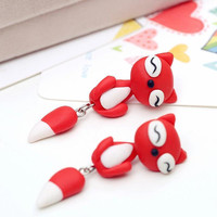 SALE!! - Red Fox Earrings Animal Cat Polymer Clay Hand Made 3D Red/White Geek Gamer Gift her Woman Cute Girl Sale