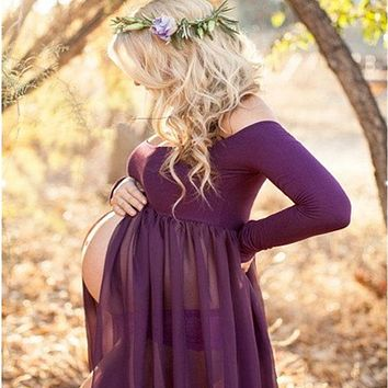 Envsoll Maternity Dress for Photo Shoot Maxi Gown Maternity Chiffon Dress For Pregnant Women Sexy Maternity Photography Props