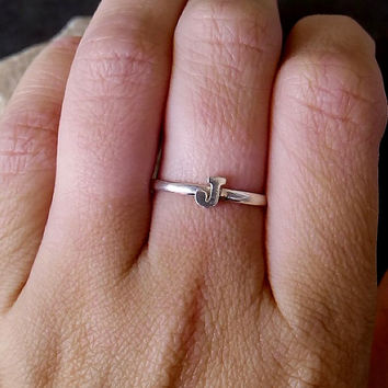 SALE! Custom Initial ring, sterling silver rings,any initials available ring, tiny small ring,stacking ring